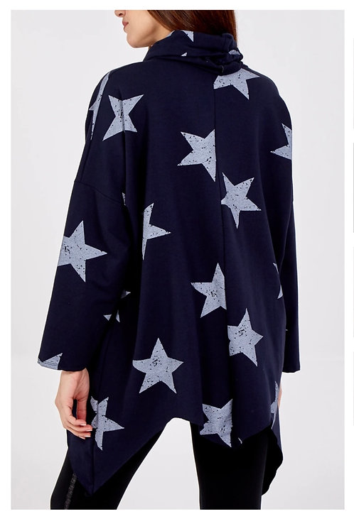 Navy Asymmetrical cowl neck Star Print Sweatshirt