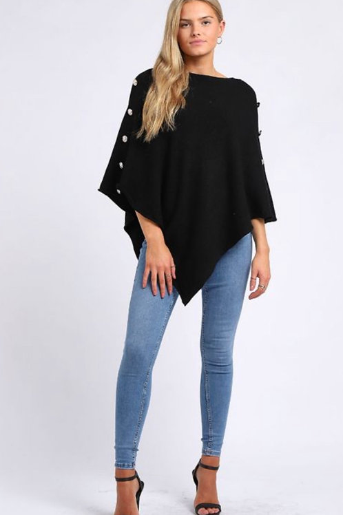 Black  Made In Italy Classy Buttoned Sleeves Plain Poncho.   10118