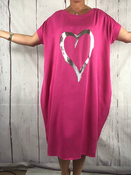 Cerise foil Heart  Dress Fitting up to a size 24. 009