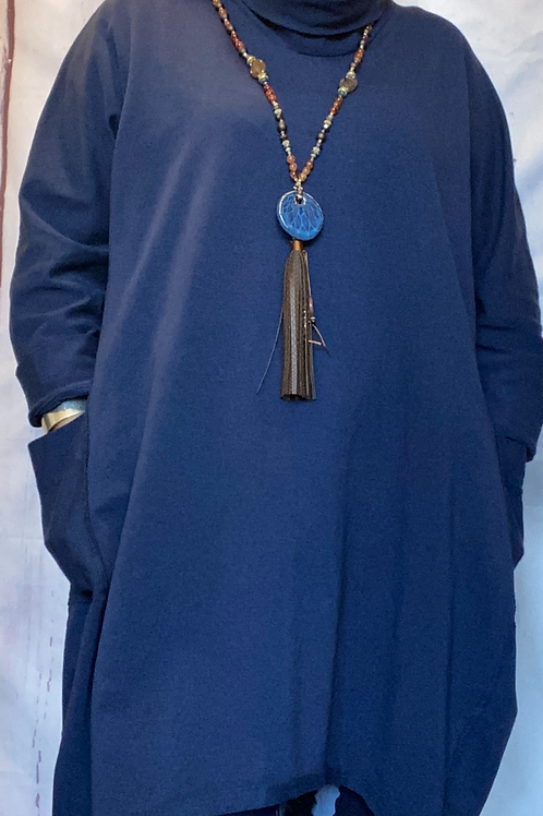Navy oversized top /tunic fitting up to a size 20