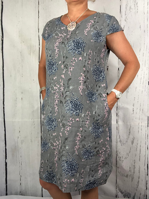 Grey Blossom Linen Dress Fitting Up to size 18