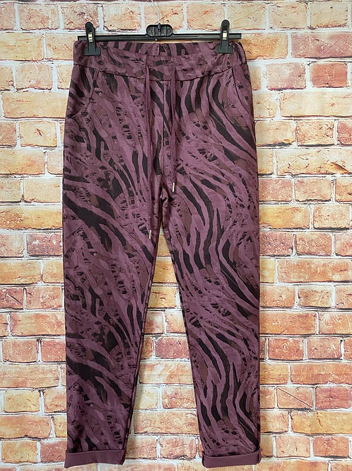 Berry Tiger print Magic  Stretch Trousers fitting 8-16