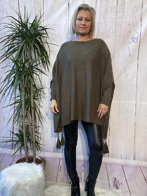 Khaki tassel detail poncho jumper fitting up to a size 24 6111