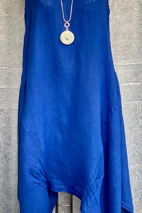 Royal blue asymmetrical linen dress, fitting up to a size 16.     2202