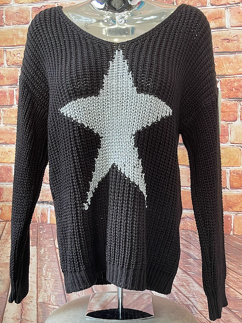 Black chunky knit star jumper, fits sizes up to 14