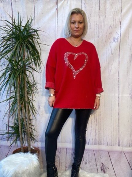 Red super soft sequin heart top, fitting up to a size 22.   5111