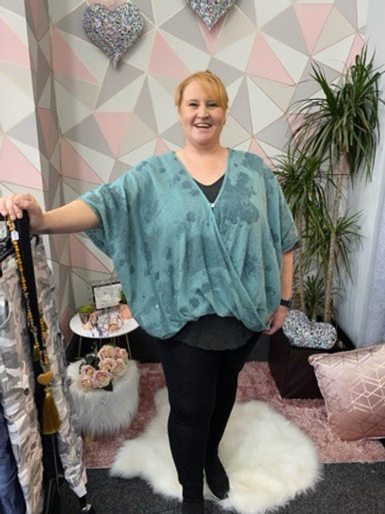 Teal splodge print crossover top, fitting sizes 10-24