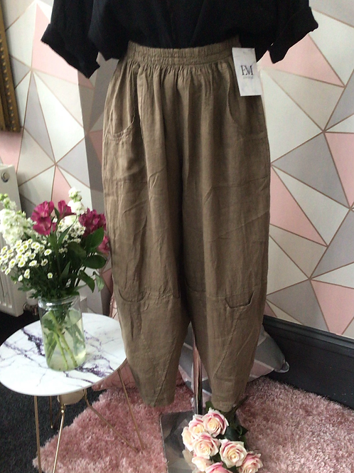 Brown linen full length quirky pocket trousers