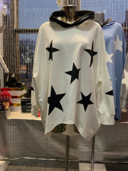 White with black stars hooded top fitting up to a size 24