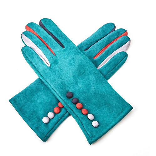 Teal super soft gloves with multi colour buttons