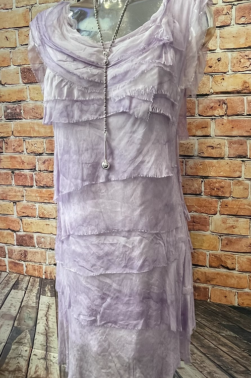 Lilac silky layer dress, fitting sizes 8-16