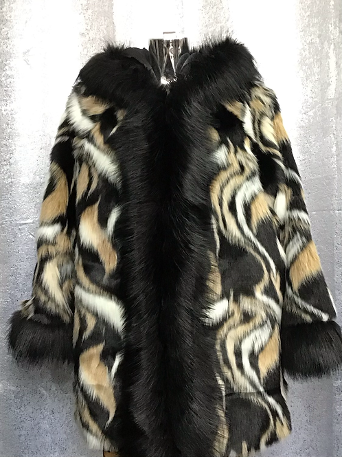Swirls faux fur hooded coat fitting up to a size 18