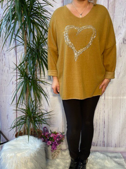 Mustard super soft sequin heart top, fitting up to a size 22.   5111
