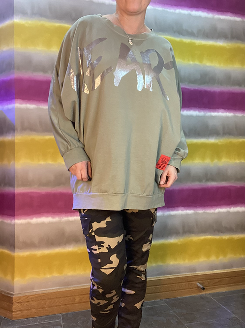 Khaki 'Heart' top, fitting up to a size 22