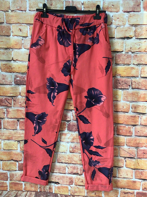 Coral 'wow' pants. Fits up to size 16