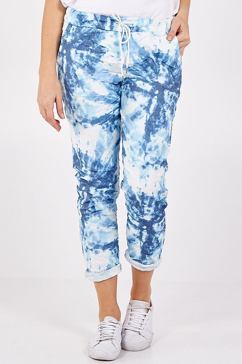 Blue Tie dye crushed magic pants fitting up to a size 18