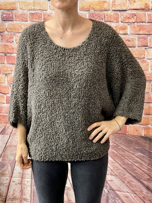 Mocha slouchy teddy jumper, fitting from a 12 to 20