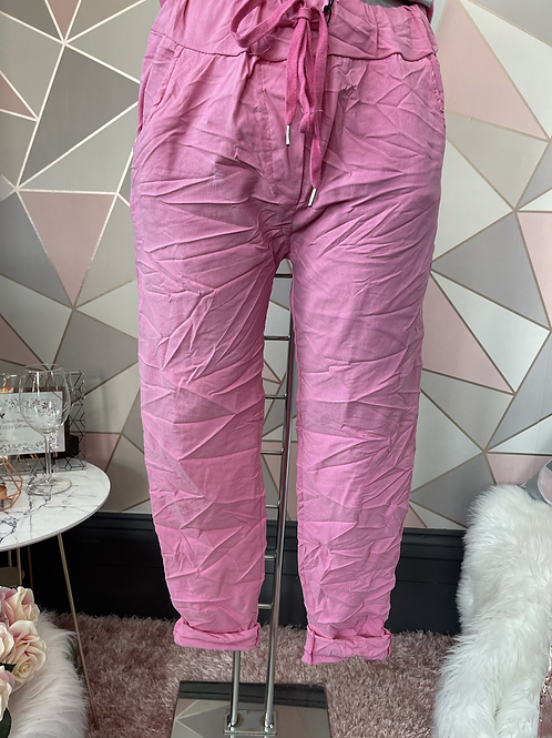 Candy Pink Magic Plain Super Stretch Crushed Trousers fitting 8-18