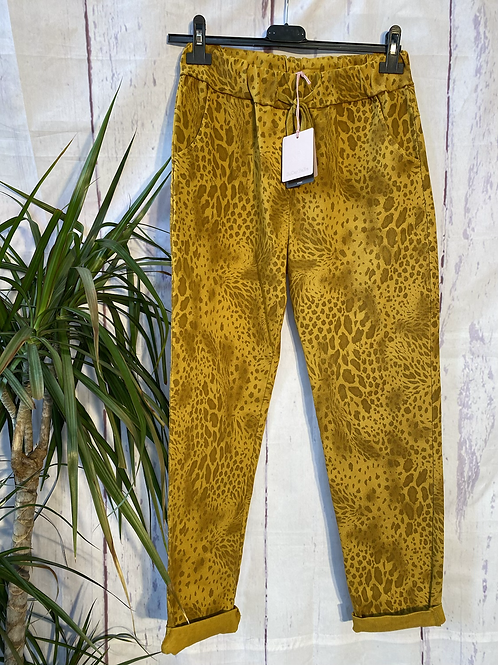 Mustard snake print magic joggers, fitting up to a size 20.   0901