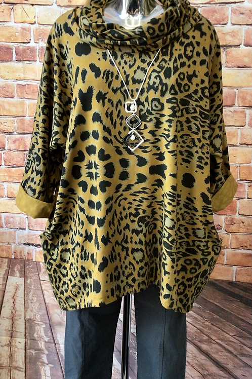 Mustard Animal print slouch neck top