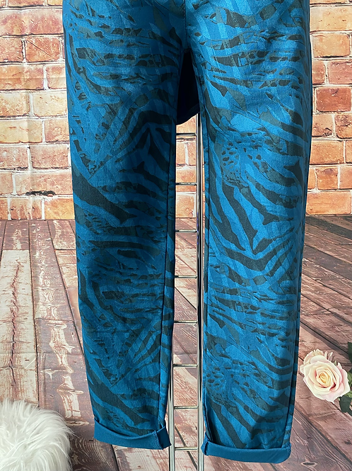 Teal Tiger print Magic  Stretch Trousers fitting 8-16