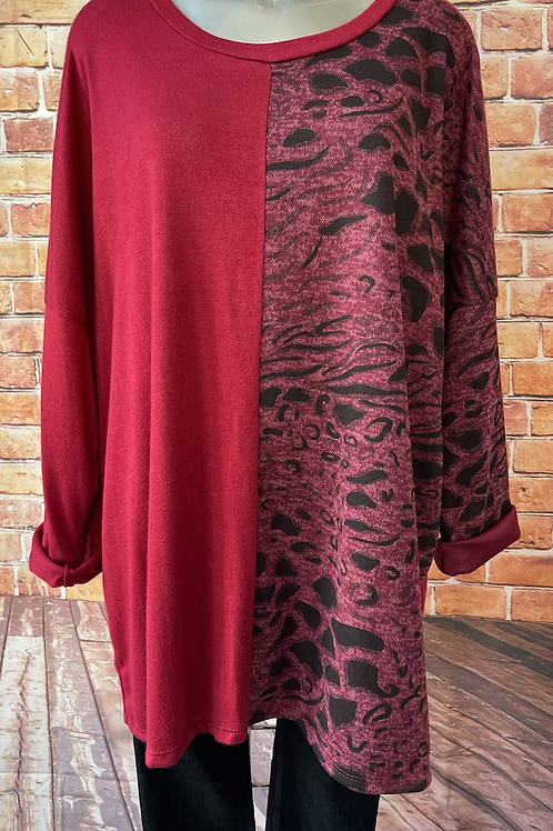 Wine panelled animal print top, fits sizes 12-22