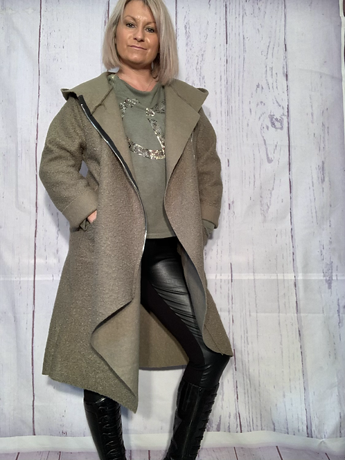 Khaki zip coat fitting up to a size 18