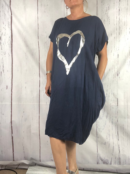 Navy foil Heart  Dress Fitting up to a size 24. 009