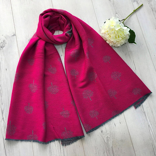 Cerise pink and grey mulberry tree scarf