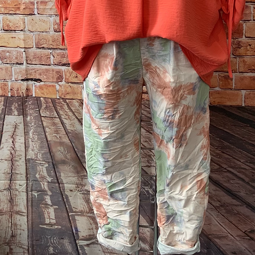 Multi Tie dye crushed magic pants fitting up to a size 18
