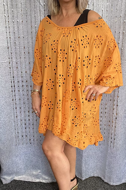 Orange  Broidery Anglaise floaty top fitting up to a size 24