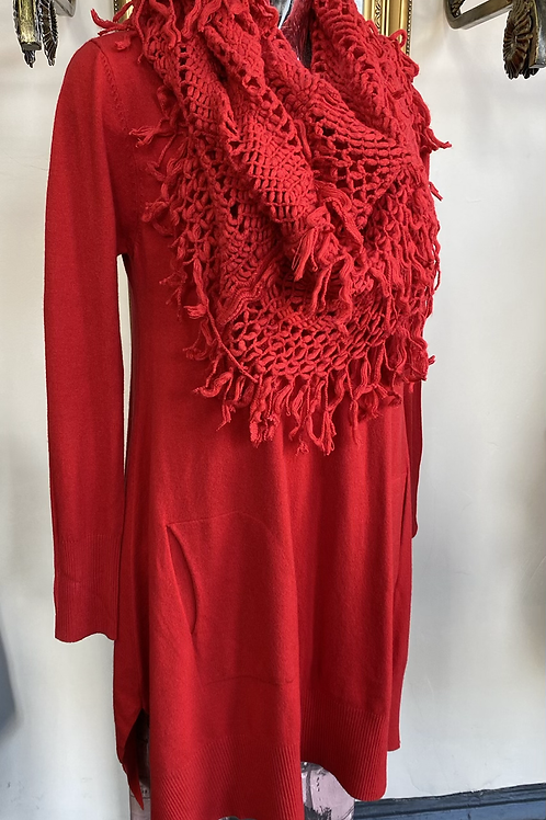 Red jumper and scarf fitting up to a size 18