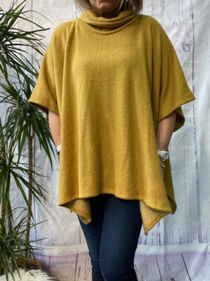 Mustard super soft poncho top fitting up to a size 22.   16119