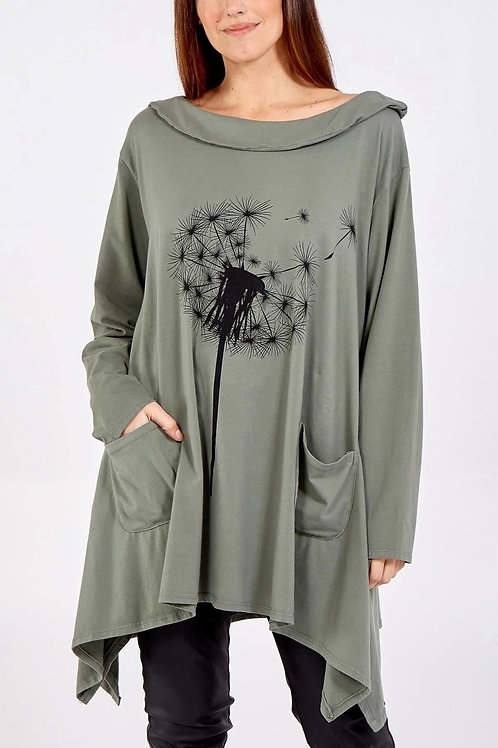Khaki Oversized dandelion top fitting up to a size 22