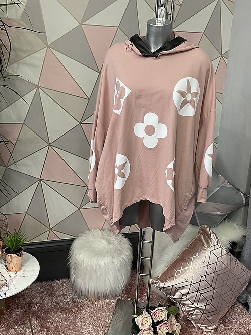 Blush Louis Vuitton inspired oversized top