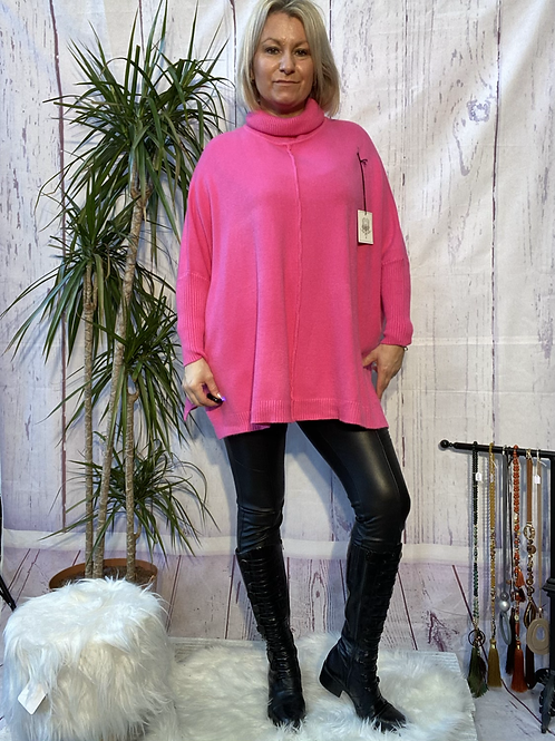 Cerise roll neck oversized jumper, fitting up to a size 20.   9112