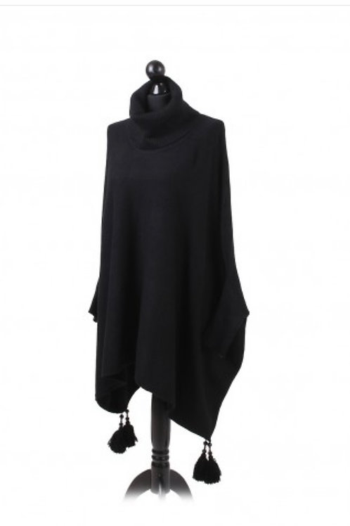 Black tassel detail poncho jumper fitting up to a size 24 2909