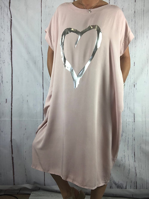 Blush foil Heart  Dress Fitting up to a size 24