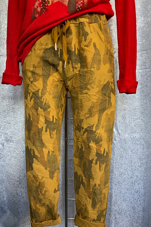 Mustard Camo magic joggers, fitting from a size 10-20.  7373