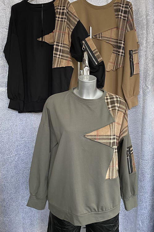 Khaki  Burberry Inspired sweatshirt fitting from a size 10 to 14