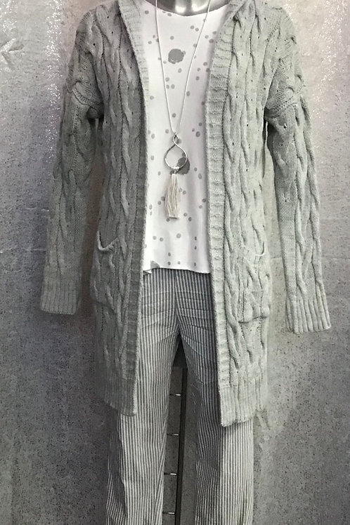 Grey cable knit cardigan, fitting up to a size 14.   75418