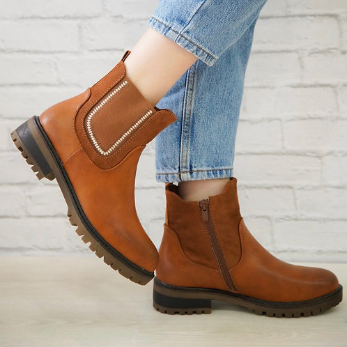Tan side zip ankle boots