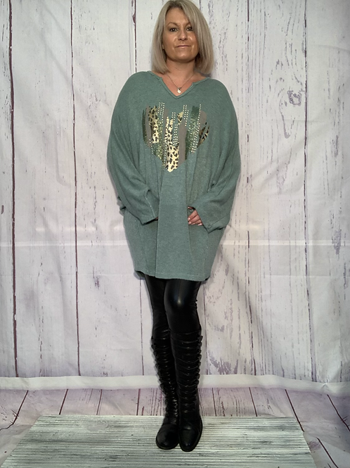 Green Super soft foil heart tunic fitting from a size 10-249850