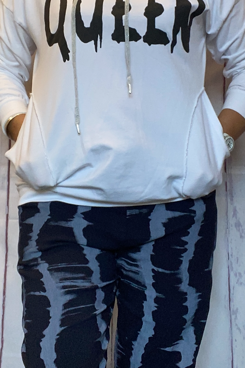 White queen print hooded top fitting up to a size 14