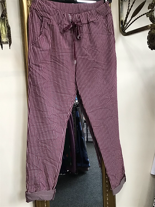 Mulberry pinstripe magic joggers, fitting from a size 10-20.   0408