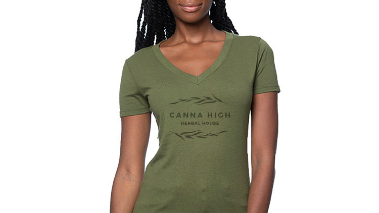 HEMP V NECK LADIES CUT T SHIRT - BRANDED