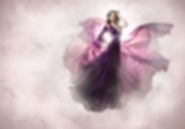 kriss logan, photographe, mode, fashion, éditorial, conte de fée, dress, robe, purple, fly, vole