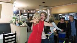 producer Carol Metcalf hugging the talen