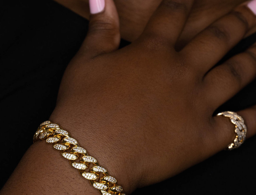 FULL ICED CUBAN LINK 12MM GOLD