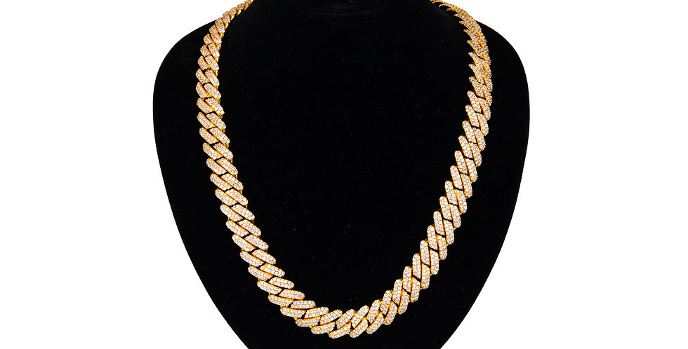 PRONG CUBAN CHAIN 12MM GOLD